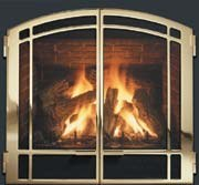 24K gold plated natural gas fireplace insert in the Gambrills / Odenton MD area.